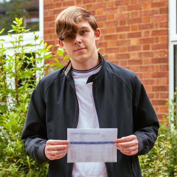 Jamie Hutton receives GCSE results